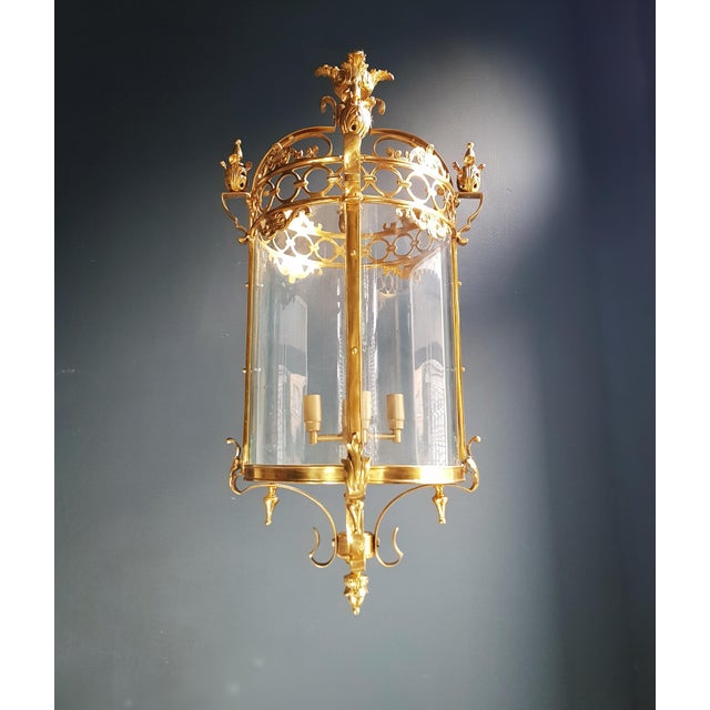 6 Aviable Large Cylindrical Lantern in Louis XVI Style Brass Glass Pendant Lighting For Sale - Image 10 of 10