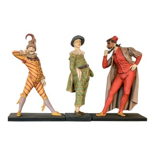 French Harlequin Carved Colorful Statues - Set of 3 For Sale