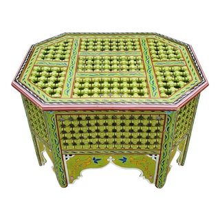 Moroccan Musharabi Green Wooden Coffee Table For Sale