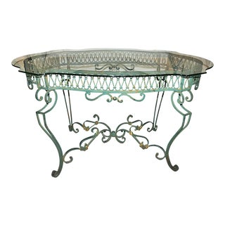 Green Wrought-Steel Dining Table For Sale