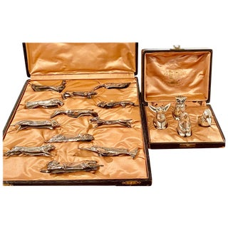 Sandoz Animal Silver Knife Rests With Salt and Pepper Two Boxes for Christofle For Sale