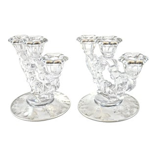 Sterling Overlay Crystal Candle Holders - A Pair
