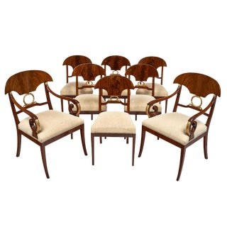 Swedish Antique Set of Flamed Dining Chairs For Sale