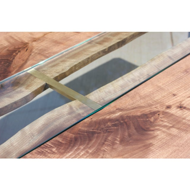 Claro Walnut Slab Dining Table With Solid Brass Inlays + Glass River Center Display For Sale - Image 11 of 11
