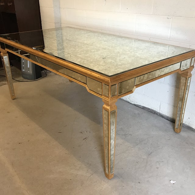 Traditional Antiqued Mirrored Dining Table With Gold Leaf Trim For Sale - Image 3 of 10