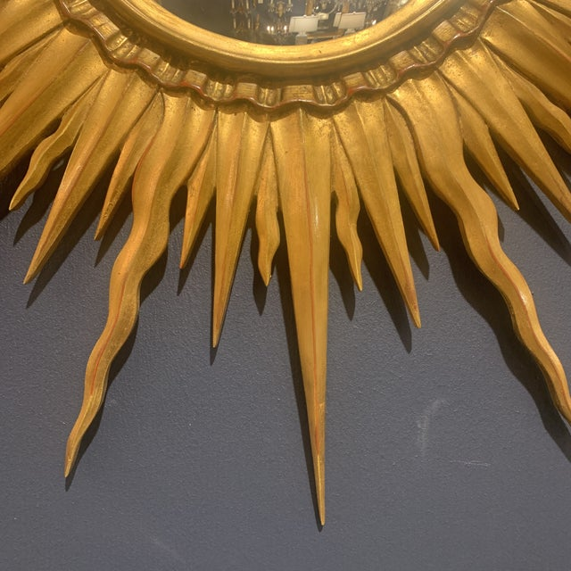 Gold Leaf Sunburst With Convex Mirror For Sale - Image 4 of 13