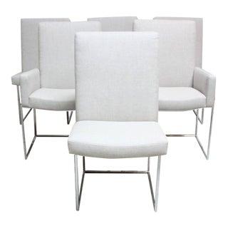 Set of Six Milo Baughman 'Thin Line' Chrome Dining Chairs