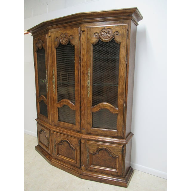 French Country Vintage Century Furniture Country French Oak China Cabinet For Sale - Image 3 of 13