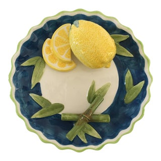Trompe l'Oeil Lemon & Bamboo Scalloped Wall Plate For Sale