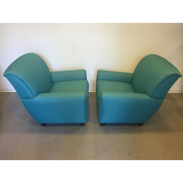 Turquoise Club Chairs - A Pair - Image 4 of 9