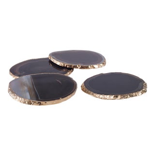 Curated Kravet Andre Coasters, Black For Sale