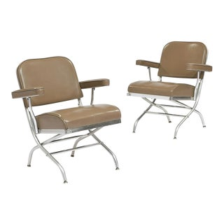 Warren McArthur Folding Chairs for Mayfair Industries C. 1950's (Pair) For Sale