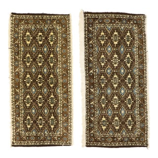 Pair of Matching Vintage Persian Mashhad Rugs - 01'10 X 03'11 For Sale
