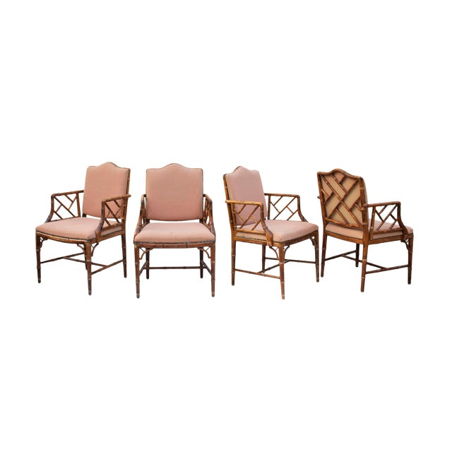 Hollywood Regency Faux Bamboo Dining Chairs, S/4 For Sale
