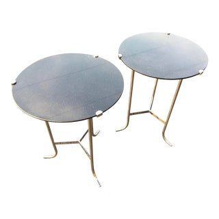 Modern Chrome and Polished Granite Side Tables by Global Views/A Pair For Sale