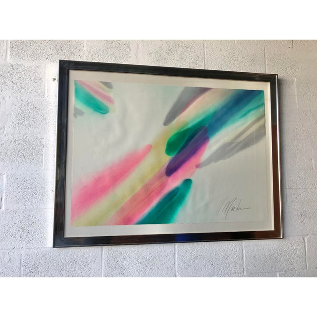 Vintage Mid Century Modern Framed Abstract Washed Acrylic Signed by the Artist. For Sale - Image 11 of 13