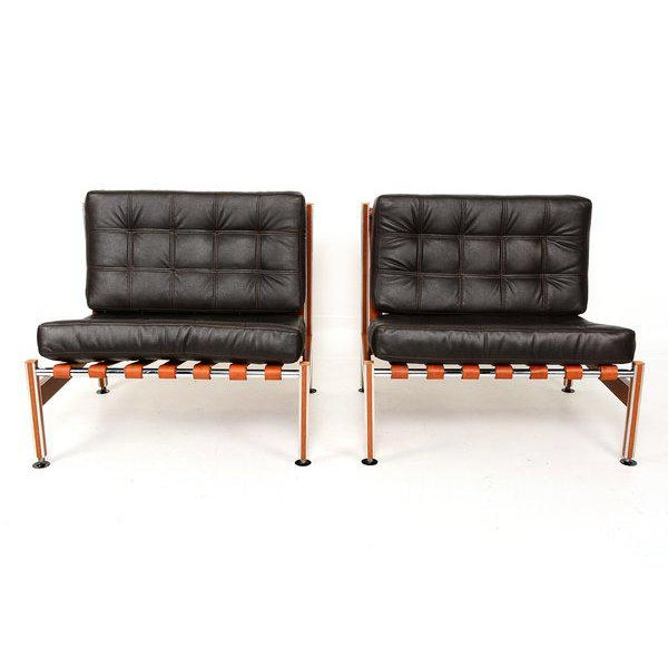 Pair of Mid Century Mexican Modernist Lounge Chairs Barcelona For Sale - Image 4 of 5