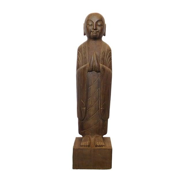 Chinese Monk Lohon Stone Statue - Image 1 of 7