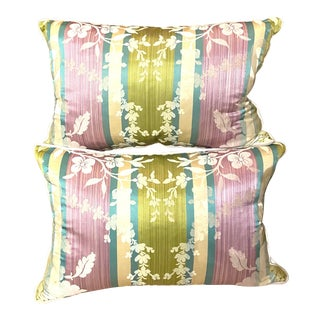 Clarence House Silk Custom Feather Pillows - a Pair For Sale