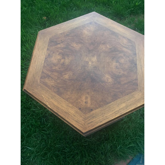 Mid-Century Modern Burled Wood Octagonal Side Table With Shelf For Sale - Image 4 of 6