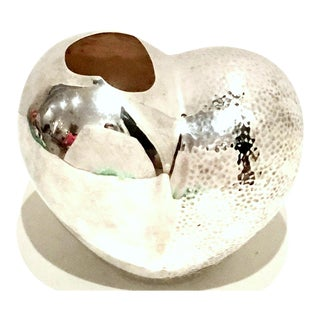 21st Century Organic Modern Silver Plate Abstract Heart From Sculptural Vase For Sale