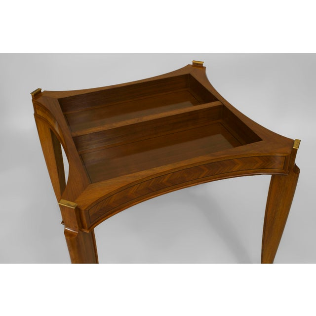 Art Deco 1940s French Art Deco Light Mahogany Square Game Table For Sale - Image 3 of 7