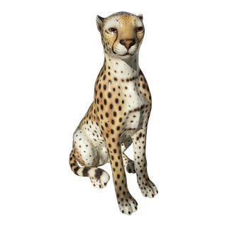 1960s Vintage Italian Ceramic Life Sized Leopard Statue For Sale