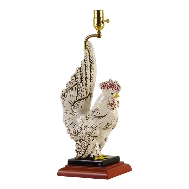 Mid Century Rooster Ceramic Table Lamp, 1940s For Sale