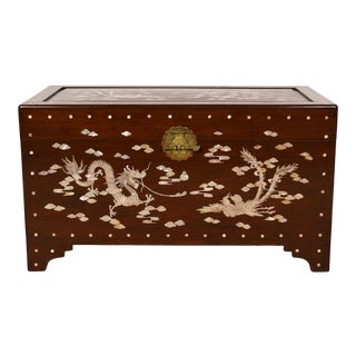 Vintage Chinese Rosewood Mother of Pearl Inlay Hope Chest/Coffee Table For Sale