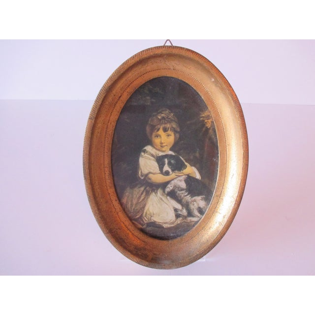 Petite Oval Florentine Print of Girl and Dog For Sale - Image 4 of 6