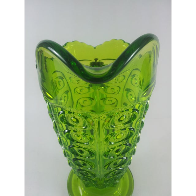 1960s Viking Green Art Glass Bullseye Pitcher For Sale - Image 5 of 6