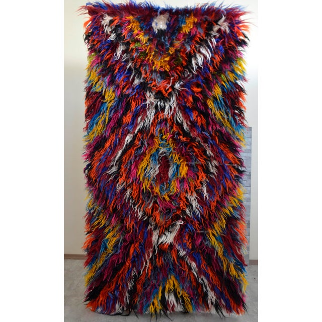 "Vintage Boho Chic Mohair Shaggy Tulu Kilim - 3'6"" X 7'3"" - Image 2 of 10"