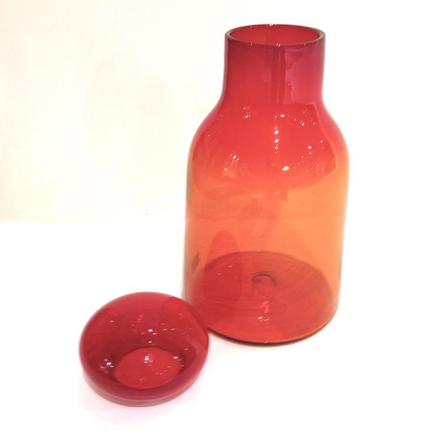 Blenko Large Ombre Blown Blenko Orange Decanter With Lid by John Nickerson For Sale - Image 4 of 9