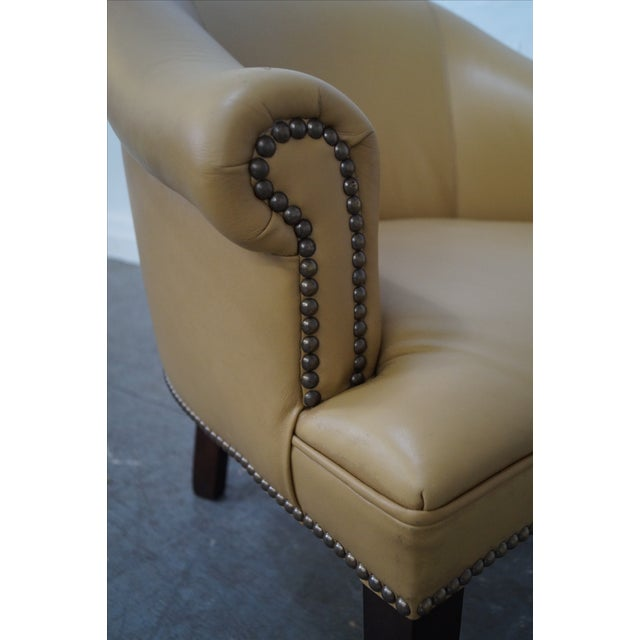 Quality Leather Barrel Back Arm Chairs - Pair - Image 7 of 10