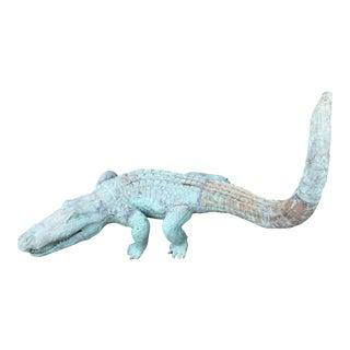 1980s Vintage Bronze Crocodile Statue For Sale
