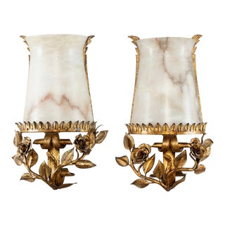 Pair Italian Alabaster Wall Sconces With Gilt Metal Bases For Sale