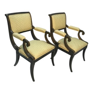 1960s Vintage Trouvailles Inc. Regency Style Armchairs - A Pair For Sale