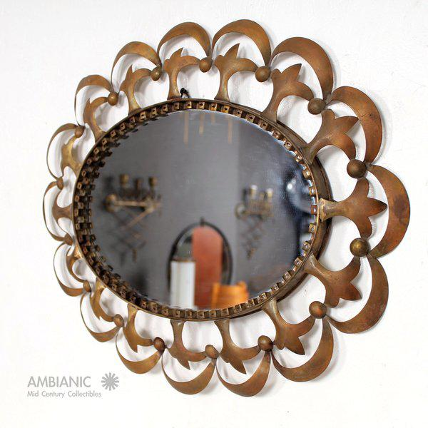 Hollywood Regency Hollywood Regency Antique Oval Mirror With Sculptural Brass Frame For Sale - Image 3 of 10