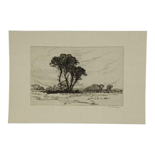 "Early 20th Century Antique Frank Mura ""Landscape, Sussex"" Etching on Paper Print For Sale"