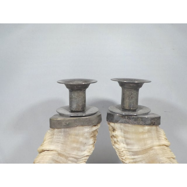 Pair of Silverplate & Faux Ram's Horn Candlesticks For Sale In Miami - Image 6 of 10