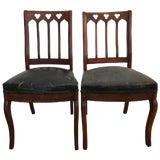 Image of Walnut Gothic Revival Hall Chairs a Pair For Sale