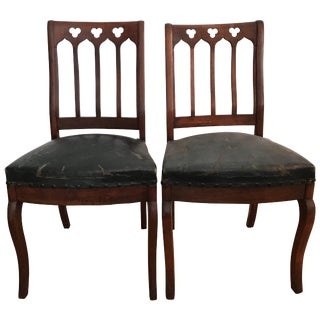 Walnut Gothic Revival Hall Chairs a Pair For Sale