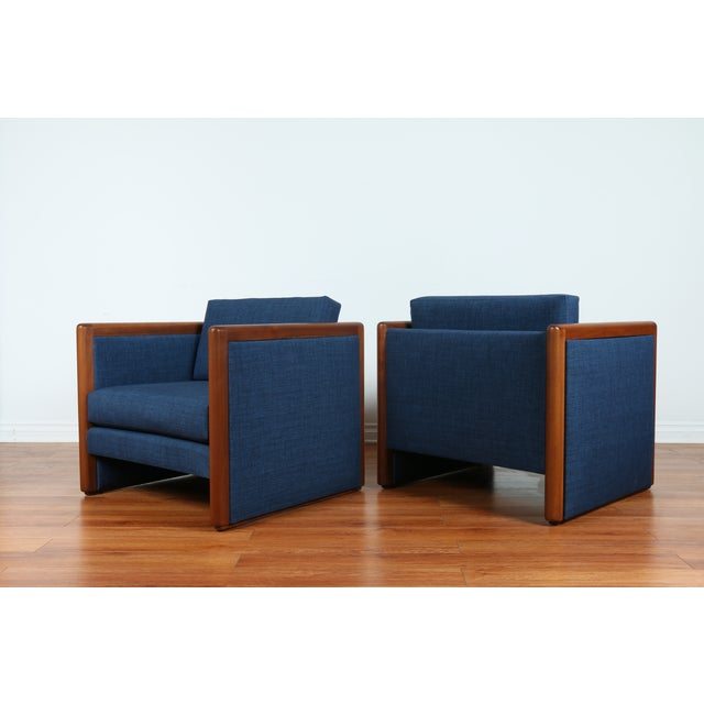 Navy Blue Mid-Century Club Chairs- A Pair - Image 2 of 10
