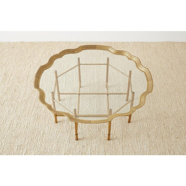 Baker Furniture Company Baker Brass and Glass Tray Top Coffee Cocktail Table For Sale - Image 4 of 13