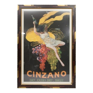 Large Framed Cinzano Poster in Unique Custom Frame For Sale