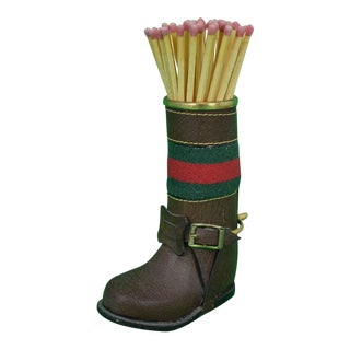 1960s Italian Gucci Leather Boot Matchstick Holder For Sale