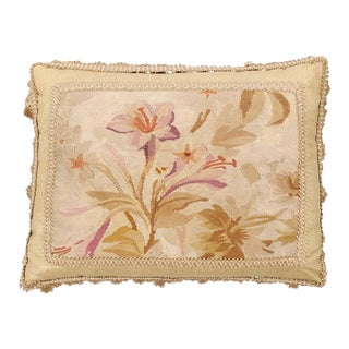 19th Century French Floral Themed Aubusson Tapestry Pillow with Tassels For Sale