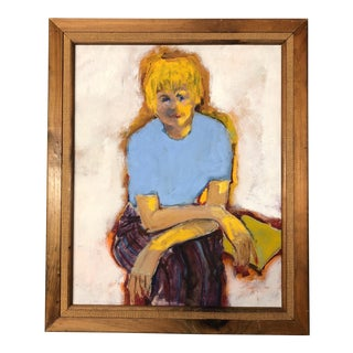 Original Mid Century Female Portrait Painting For Sale