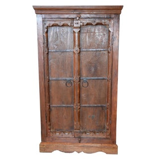Vintage Door Cabinet With Metal For Sale