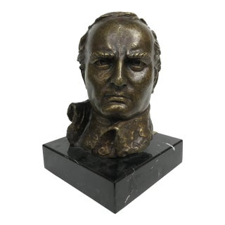 20th Century Figurative Bronze & Marble Bust of Napoleon Bonaparte